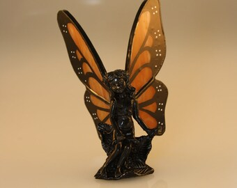 Stained Glass Fairy Hand-Painted Monarch Butterfly Figurine - Made to Order (MON021)