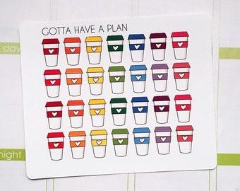 Planner Stickers To Go Coffee Cup for Erin Condren, Happy Planner, Filofax, Scrapbooking
