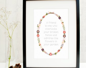 Friendship Quote Print - Gift for her - mothers day gift - mothering sunday print - gardening print - flower print - floral wreath