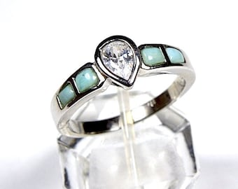 High Quality Genuine AAA Dominican Larimar & White Topaz Inlay 925 Sterling Silver Ring size 6,7,8