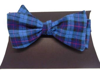 Cranleigh Blue and Pink Tartan Self-Tie Bow Tie.