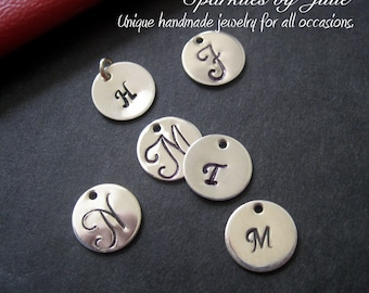 ADD a Hand Stamped INITIAL, Sterling Silver or Gold Filled Circle Tab, Custom Charm, Personalize Your Jewelry, Two Fonts to Choose From