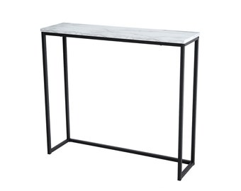 Marble Print Console Table, Black Metal Frame, for Hallway Entryway Living room, Entrance Hall Furniture