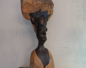 Carved wood African art sculpture female w/ free ship
