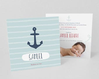 Announcement of birth or baptism anchor Navy and white rope on blue background - model Samuel