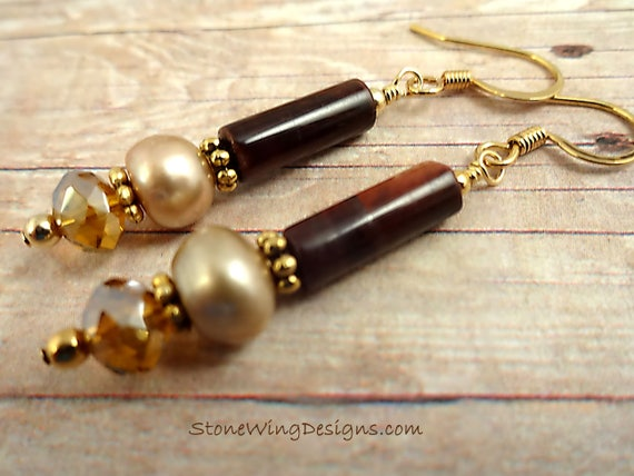 Red Tigers Eye, Cream Pearls and Crystal Earrings