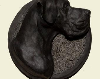 Hand painted black Great Dane dog Dogue Allemand Alano Deutsche Dogge Немецкий дог PERITAS wall sculpture statue fine art relief painting