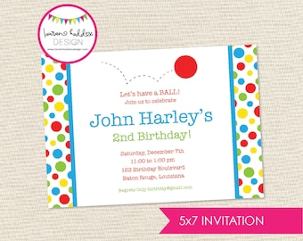 Red Ball Birthday Invitation, Red Ball Birthday, Red Ball Printables, Red Ball Birthday Decorations, Lauren Haddox Designs