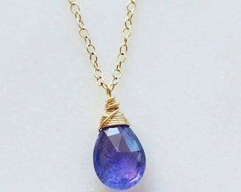 Tanzanite Necklace, 14K Gold Necklace,  Gold Tanzanite Necklace, Blue Tanzanite Pendant, Tanzanite Jewelry, Gold Tanzanite Pendant