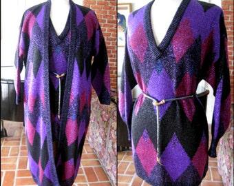 Krizia Sweater Coat / Poi by Krizia / 80s Krizia sweater set / sz 42 fits M-L / Italian designer sweater / lame sweater / lame coat