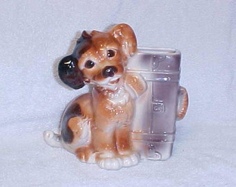 Royal Copley  Terrier Pup With Suitcase Vintage Dog Figurine Planter Ceramic Pottery Vase 1940's
