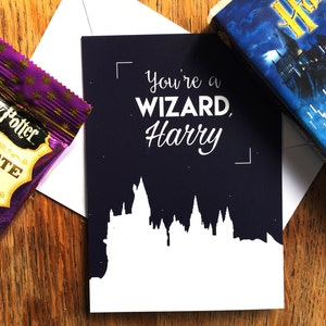 "Carte A6, ""You're a wizard Harry"", Harry Potter, Poudlard, typographie, illustration"