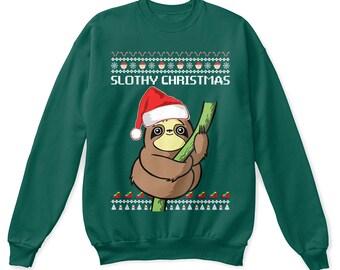 Sloth shirt, slothy christmas shirt, sloth sweatshirt, sloth ugly sweatshirt, sloth tshirt, sloth lover shirt, sloth lover gift, sloth tee