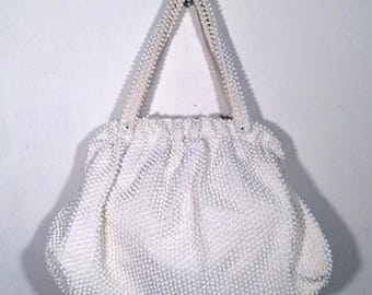 vintage 60's opaque white acrylic plastic beaded handbag purse w/ metal frame