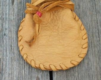 Leather drawstring medicine bag