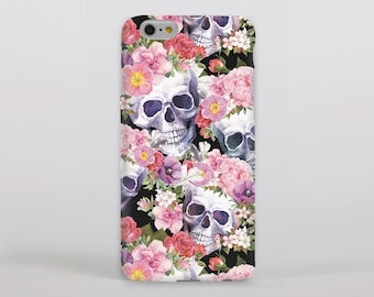 Skulls and Pink Blossom Hipster Phone Case/Cover for iPhone Case/Cover (iPhone 8 Case/Cover) or Samsung Phone Case/Cover - FREE UK DELIVERY