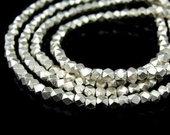 KL-036 thai karen hill tribe handmade silver 20 small facet bead