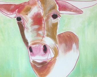 ON SALE original 24x36 cow/longhorn painting