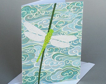 Dragonfly: A nature inspired blank notecard , origami paper , aqua