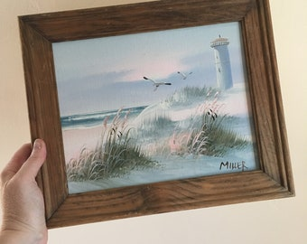 Vintage 70s Artist Signed Seaside Ocean View Painting Art