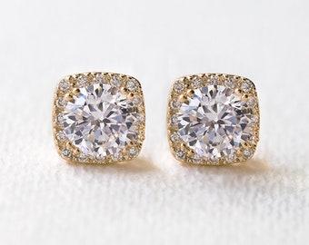 Bridal Stud Earrings, Cushion Cut Earrings, Wedding Jewelry, Bridal Accessories, Bridesmaid Gift, Bridesmaid Jewelry, Gold Earrings, E313-G