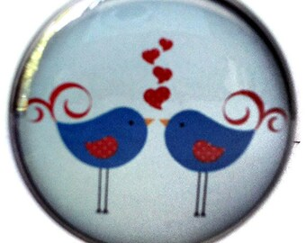 Blue Birds Love Birds Pocket Mirror Purse Mirror Cosmetic Mirror Makeup Mirror Compact Mirror 2 1/4 inch