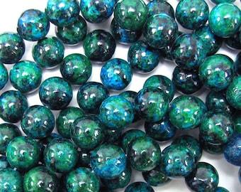 "12mm blue green azurite round beads 15.5"" strand 31363"