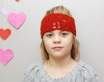 Knit wool headband, Ear warmer, Dark red Kids Womens turban headband, beautiful leaf lace headband, A Beautiful Handmade Hair Accessory