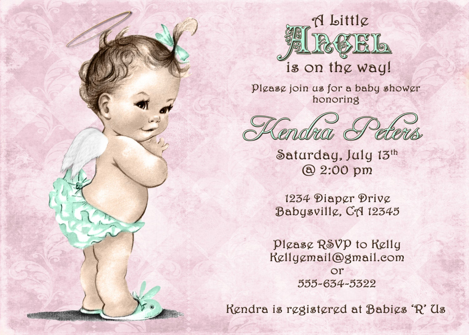 Girl Baby Shower Invitation For Girl Angel Pink and Mint
