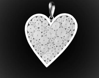 Love pendant infinity silver embroidery