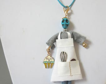French Doll Necklace Sugar Skull Tiny Chef Baker Jewelry Dia De Los Muertos Day Of The Dead