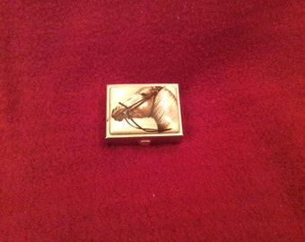 Horse Decorated Gold Effect Pill Box
