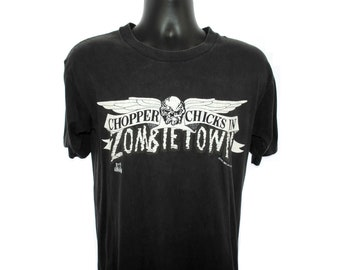 1992 Chopper Chicks In Zombietown Vintage Not Just Another Action-Comedy-Horror-Biker Movie! Cult Troma Scary B Movie Promo T-Shirt