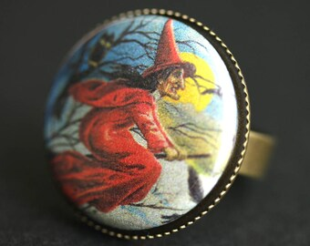 Red Witch Ring. Halloween Ring. Wicked Witch Ring. Vintage Postcard Graphic Button Ring. Adjustable Ring. Bronze Ring. Halloween Jewelry.