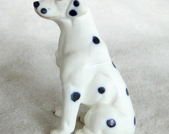 Vintage Dalmatian Dog Porcelain Figurine-Unmarked-3 1/4 inches tall-Bisque finish