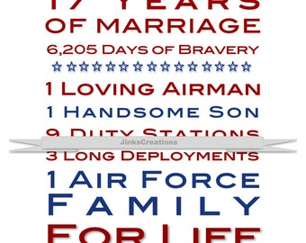 Air Force Wife Custom Print. Great Gift Idea for Retirement!