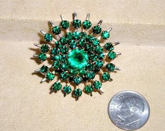 Vintage Green Crystal Rhinestone Star Burst Brooch Pin 1940's Jewelry 20027