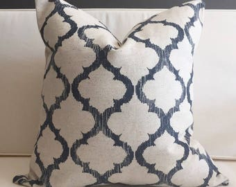 Pillow Cover, Navy Blue and Cream Ikat Pillow Cover, HUDSON
