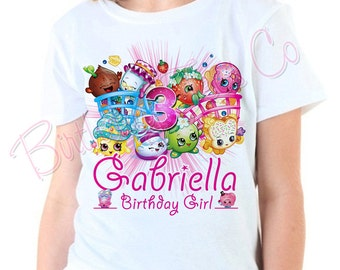 Customized Shopkins Birthday Shirt Add Name & Shopkins Custom Birthday Party TShirts