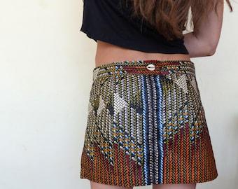 Skirt short ethnic wax, cotton, African
