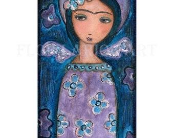 Frida in Heaven - Volkskunst-HOLZSCHNITT von Gemälde (5 x 10 Zoll drucken) von FLOR LARIOS