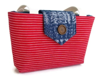 SALE - Handwoven IKAT and Stripes - Wayfarer Purse  - Red, White and Blue Indigo
