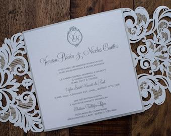 White Laser Cut Wedding Invitation, White Laser Cut Invitation, Romantic Laser Cut Invitation, Enchanted Laser Cut Invitation, Laser Cut