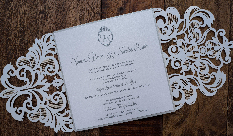 White Laser Cut Wedding Invitation, White Laser Cut Invitation ...