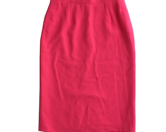 Vintage Bright Pink High Waist Pencil Skirt Zip/Button Back Lined Lace Handmade Piece Mid Length Pinup Rockabilly, Timeless Classic