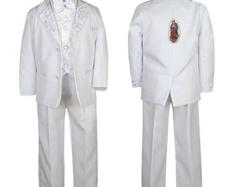 New Baby Toddler Boys WHITE Christening 1st Communion 5 (or 6 with stole) pieces Suit Tuxedo BY021 Guadalupe 1