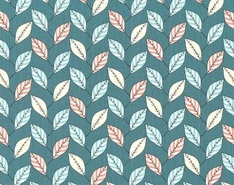 1 yard - FEUILLES in Teal, Strawberry tea collection, Michael Miller fabrics