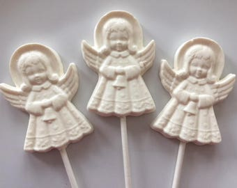 ANGEL CHOCOLATE Lollipops (12 qty) Religious Favor/Baby Christening/Stocking Stuffers/First Communion/Christmas Party Favor/Christmas Candy