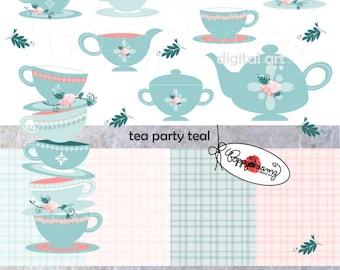Tea Party Teal Paper and Elements SET: Digital Scrapbook Paper Pack (300 dpi) Wedding Bridal Baby Shower Floral Pink Teal