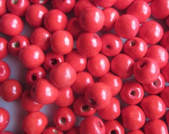 Red Wood Beads 12mm 20 Beads